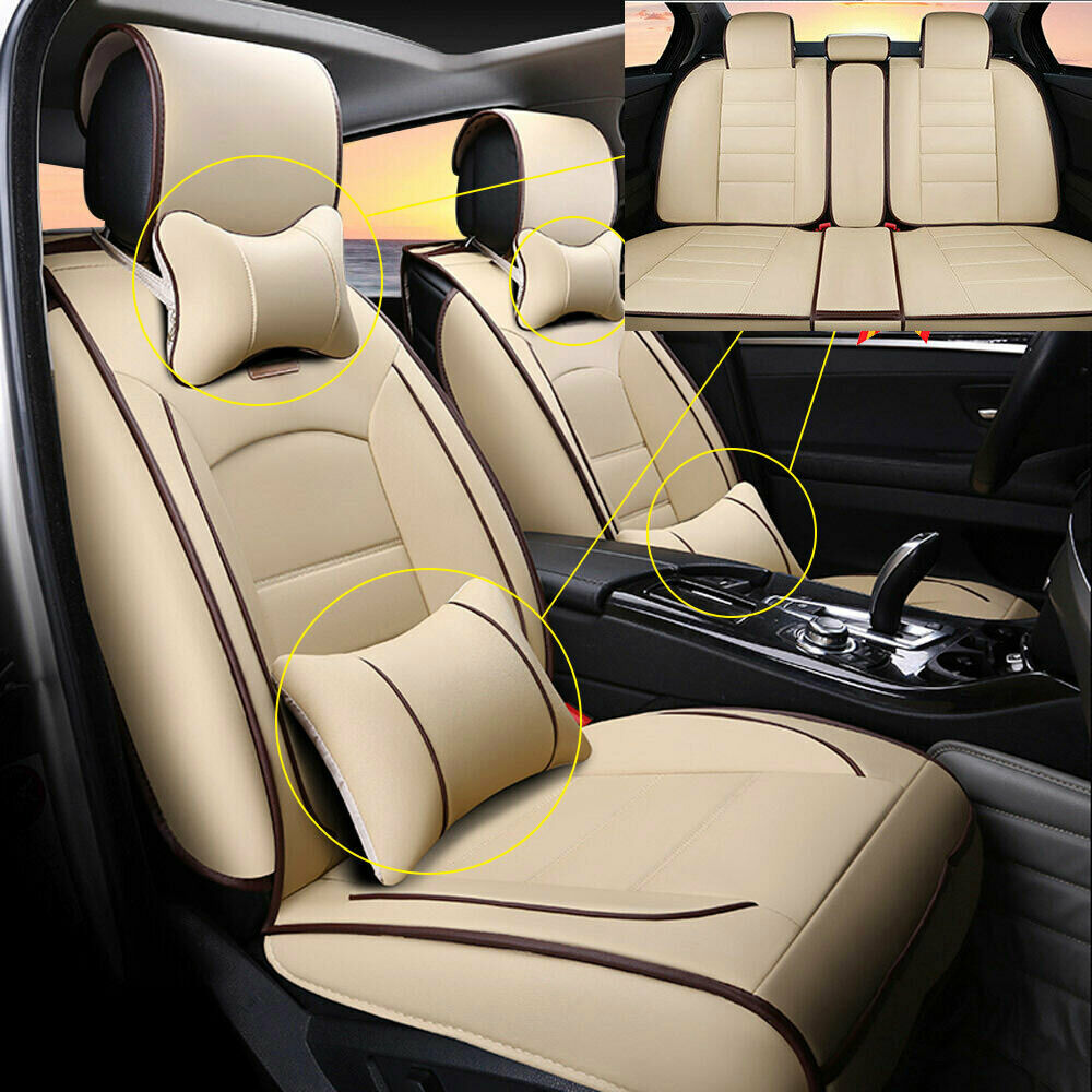 full set 5 seats car seat cover linen cushion w neck lumbar pillow front rear ebay. Black Bedroom Furniture Sets. Home Design Ideas
