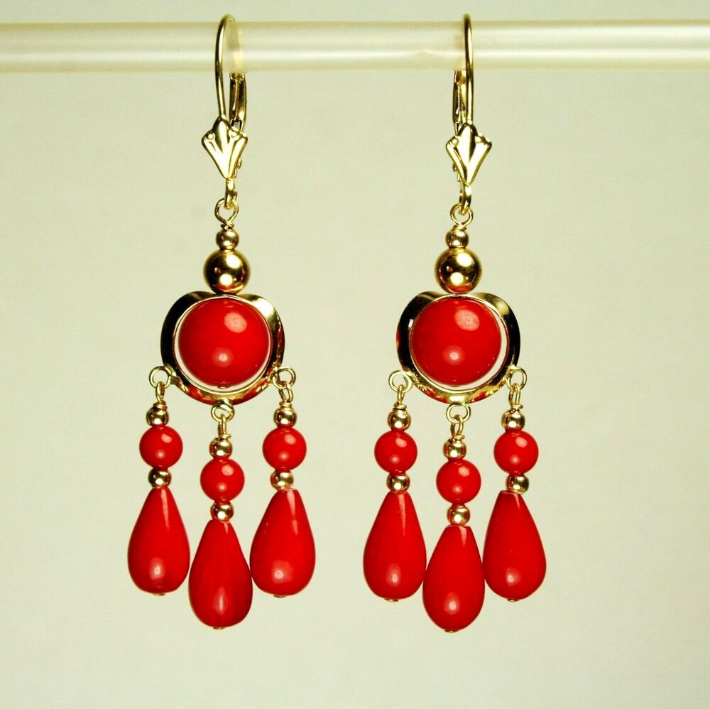 Red Diamond Chandelier Earrings: 14k Solid Yellow Gold Chandelier Natural Red Coral