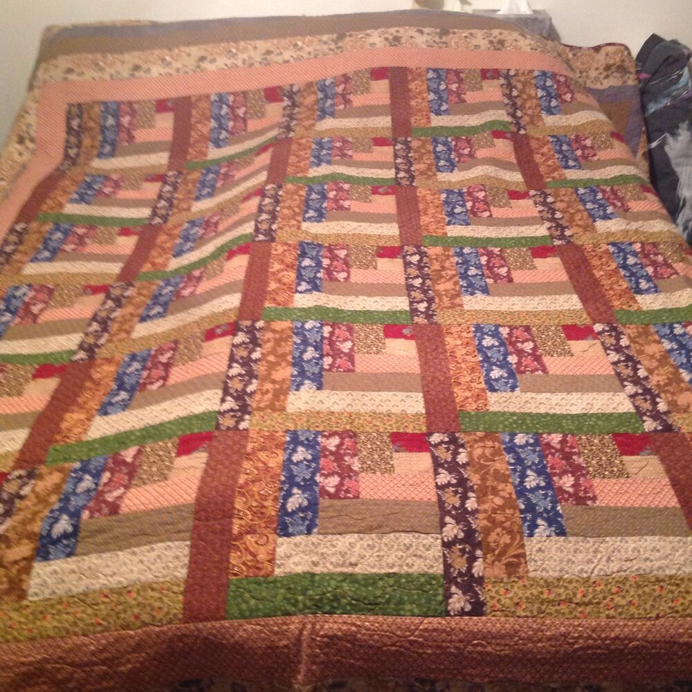Log Cabin Quilt Pattern Free Queen Size : King size Log Cabin Quilt eBay