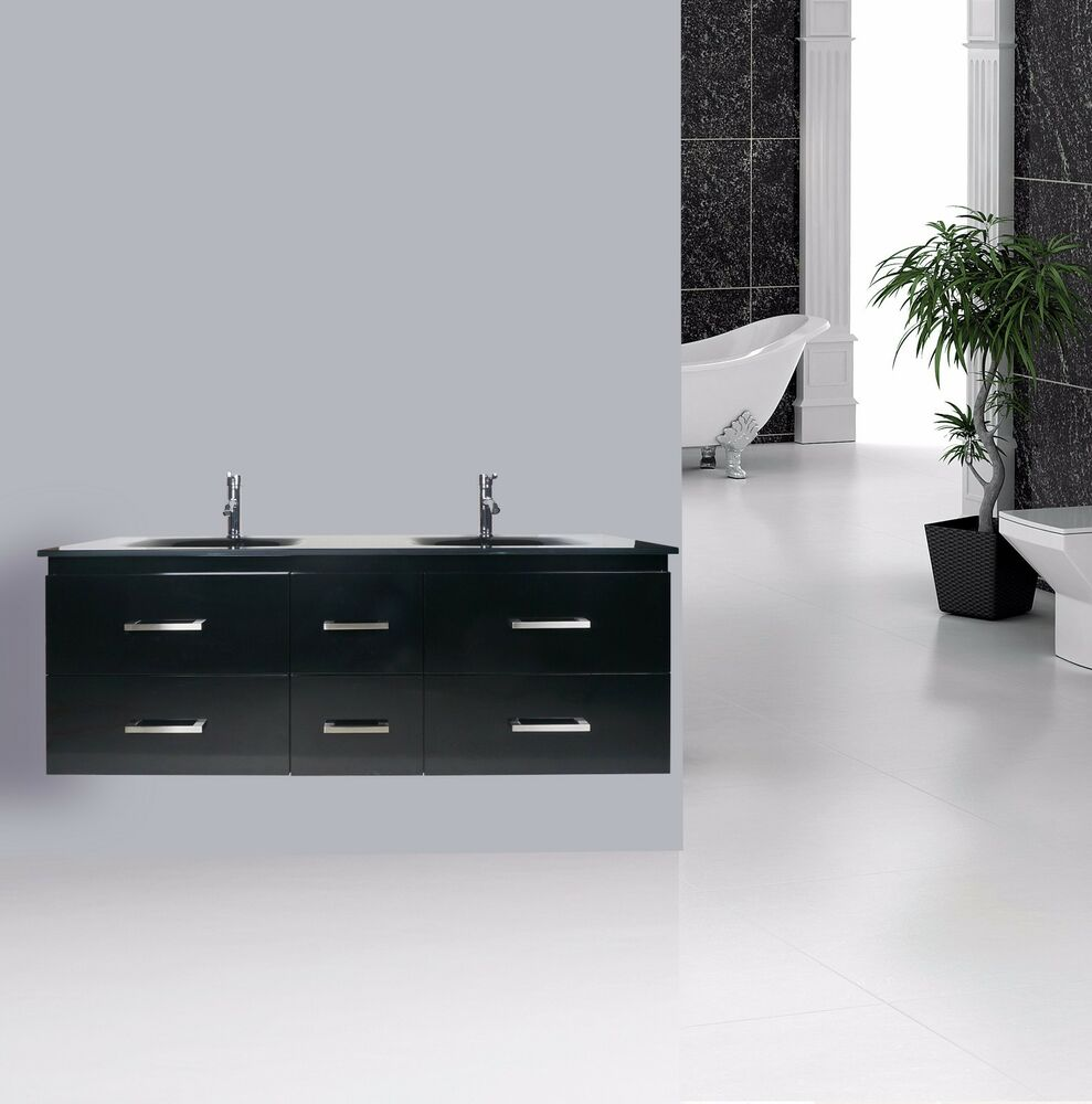 VANITY BATHROOM 1500mm Wall Mount UNIT Black WITH FREE FAUCET New EBay