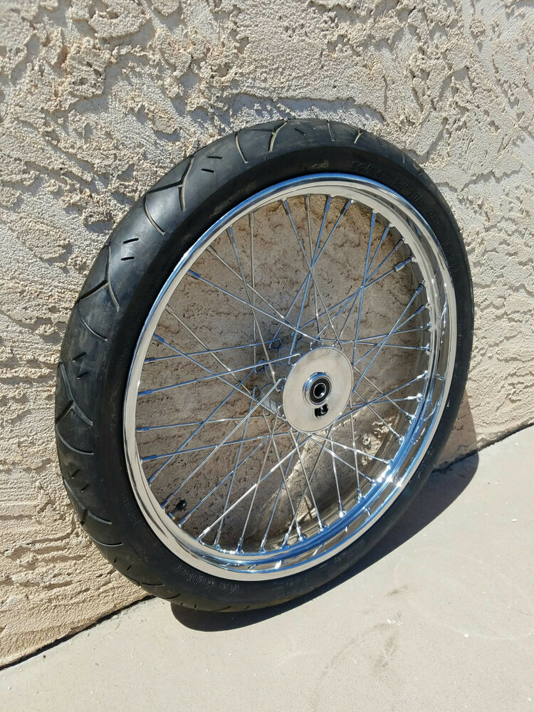 "Avon Motorcycle Tires >> MINI DRUM BRAKE 21"" x 2.15"" 3/4"" BRG W/V-Rubber Tire CHOPPER BOBBER FRONT WHEEL 