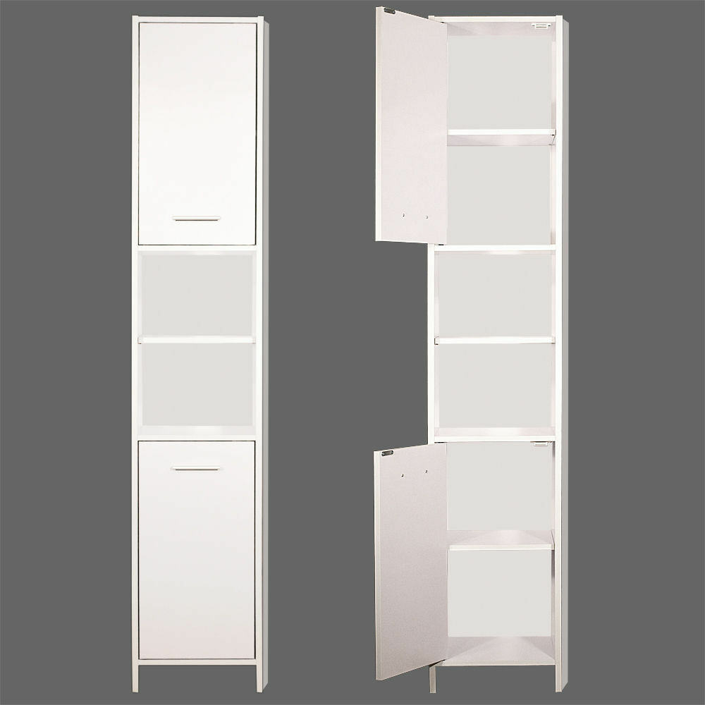 Tall bathroom storage white wooden modern bath cabinet shelved tidy laundry tuck ebay - Modern bathroom cabinets storage ...