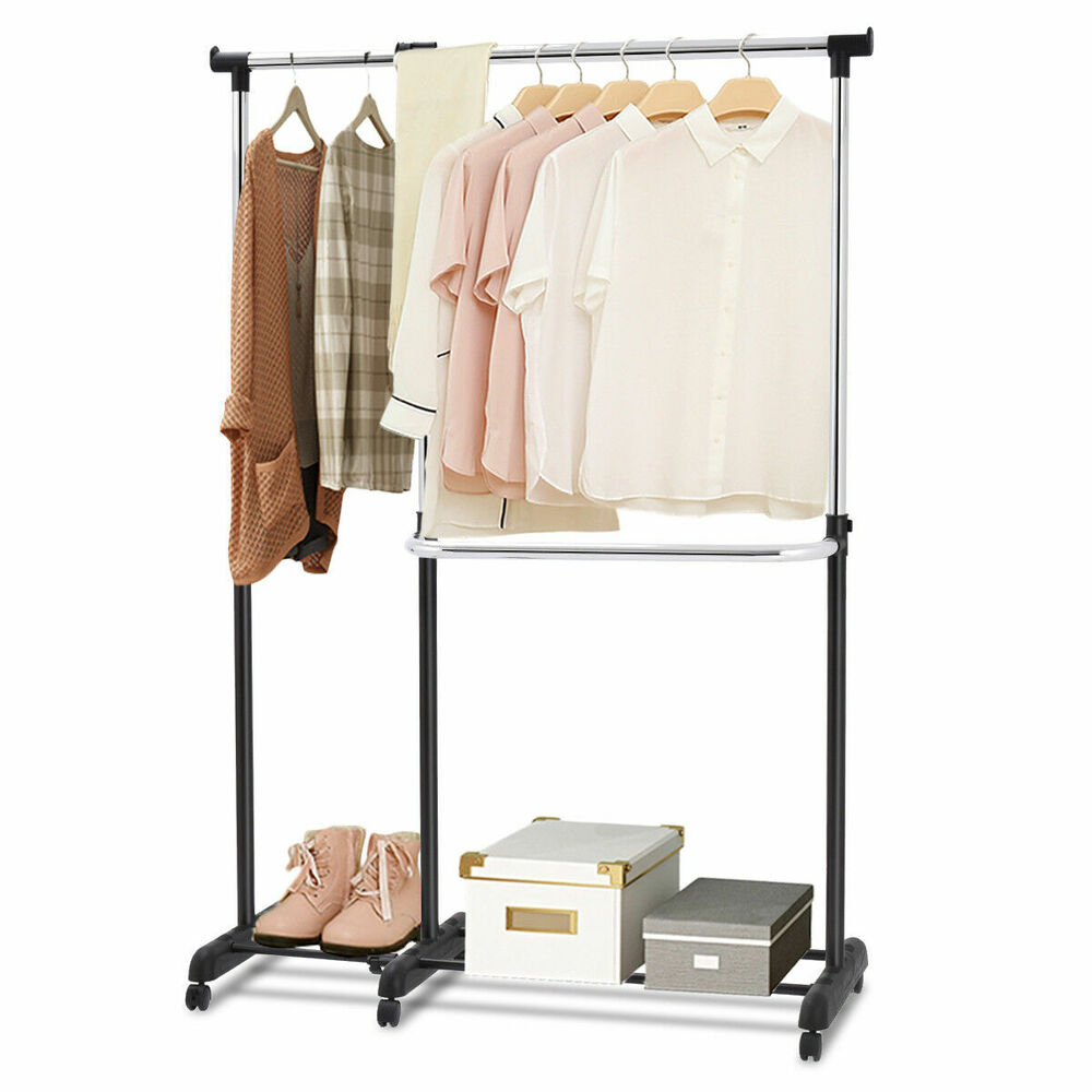 Adjustable Heavy Duty Garment Rack Rolling Clothes Hanger