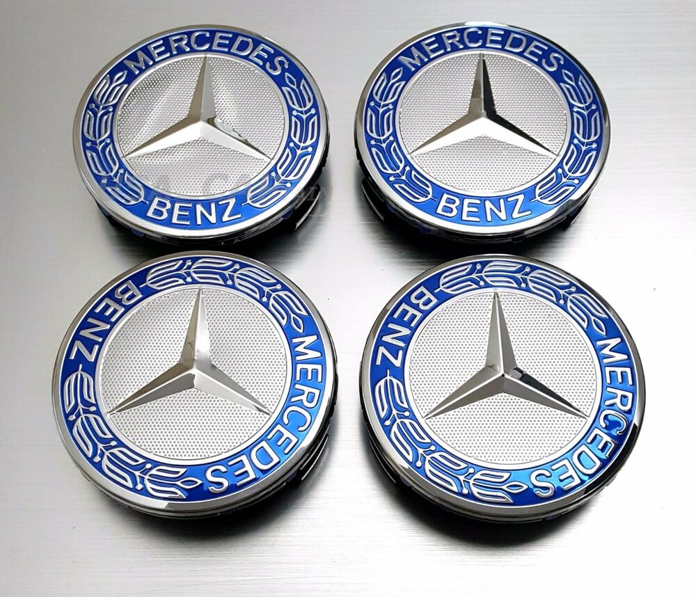 Mercedes benz wheel center caps blue wreath rim hubcaps for Mercedes benz wheel cap emblem