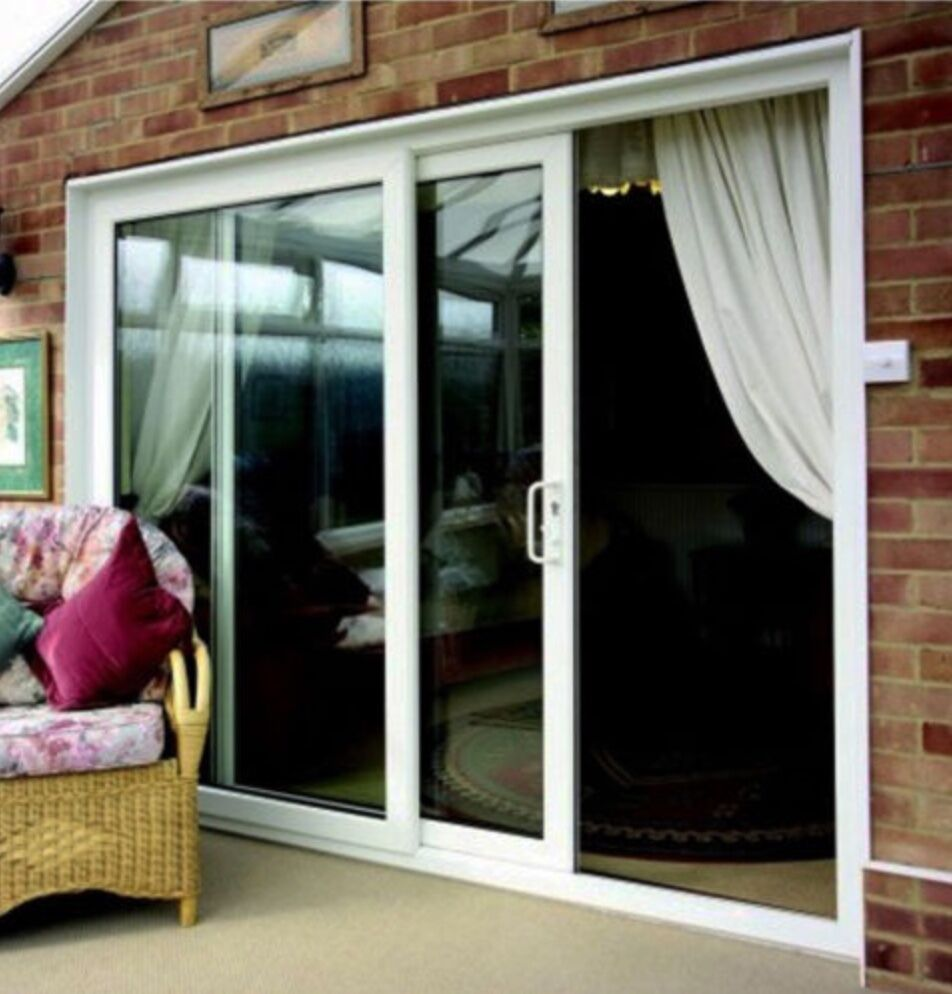 Upvc white sliding patio doors 2290mm x 2090mm fast for Brown upvc patio doors
