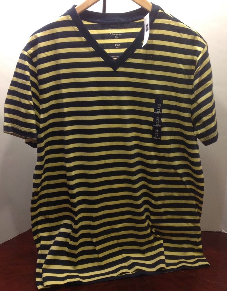 Nwt gap men 39 s large l v neck t shirt navy yellow striped for Large v neck t shirts
