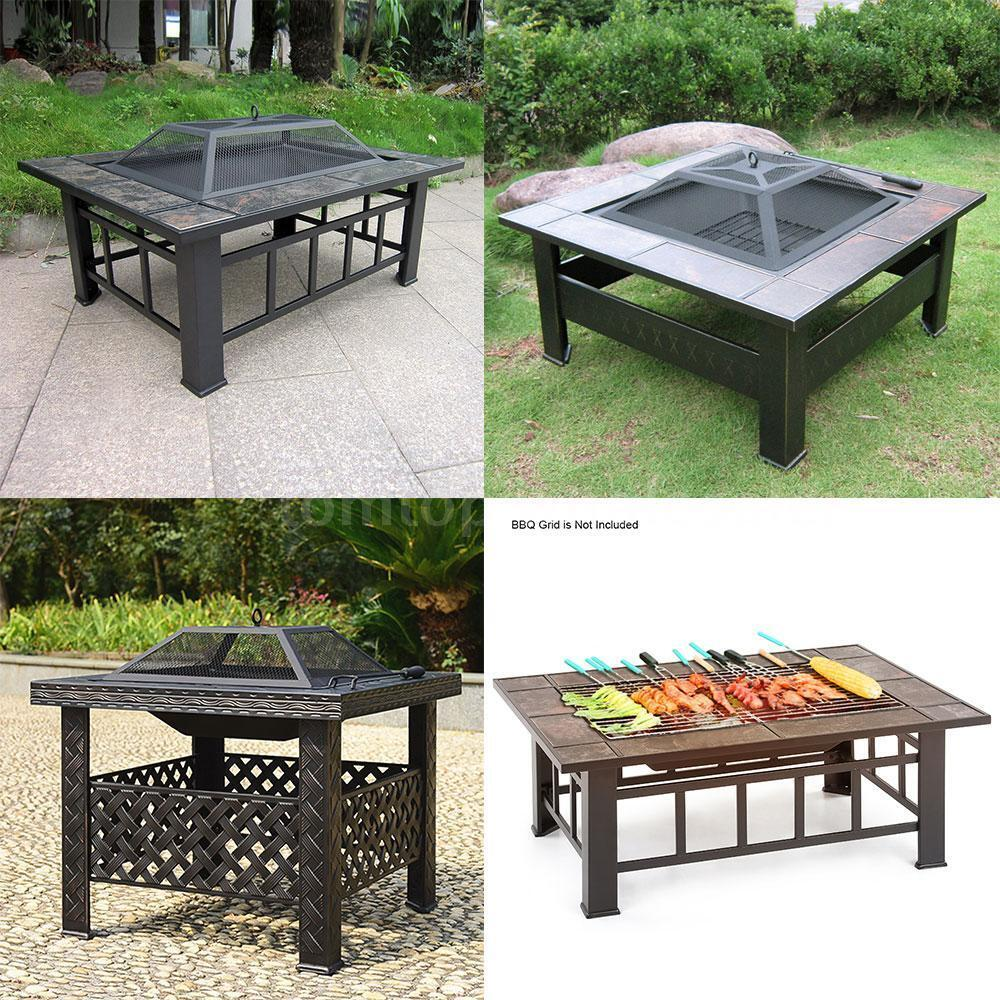 New Outdoor Fire Pit Square Stove Patio Backyard Bbq