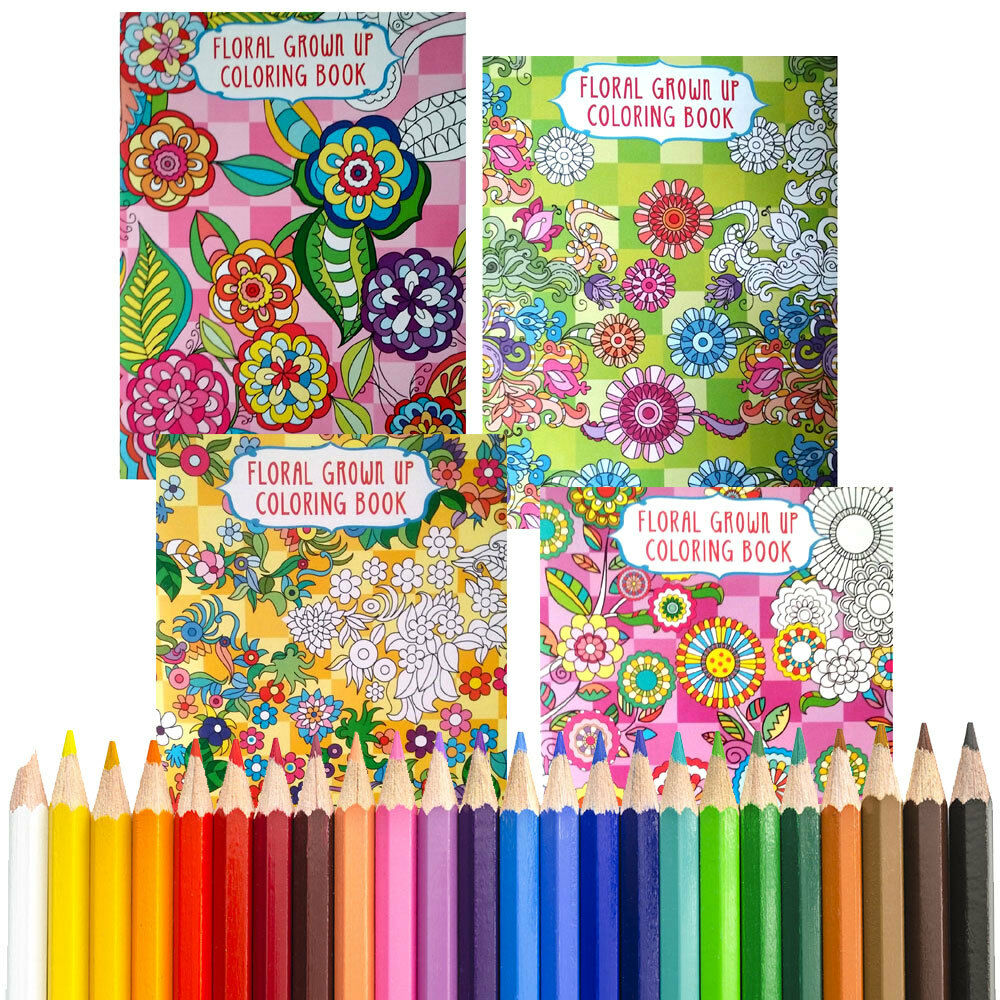Colored Pencils For Grown Up Coloring 4 Coloring Books BONUS COLORED PENCILS Floral Design for