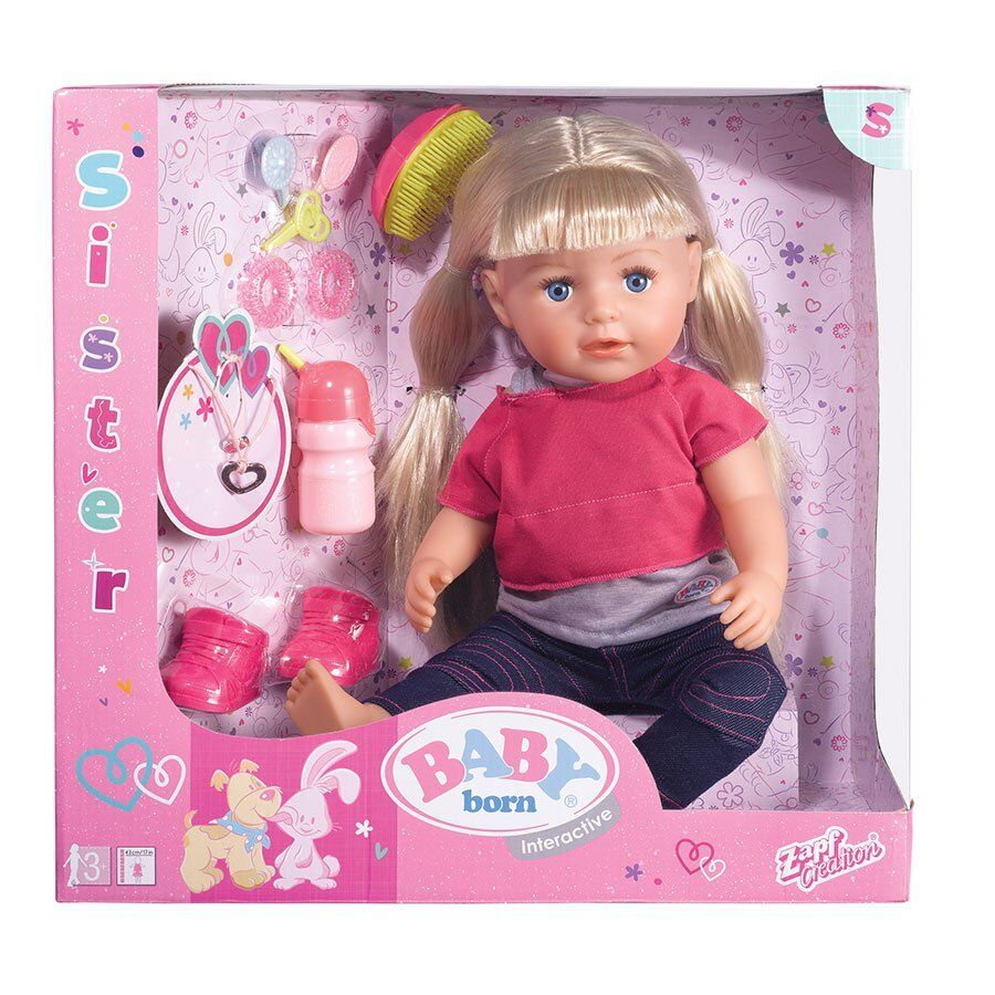 New Zapf Creations Baby Born Interactive Sister Doll