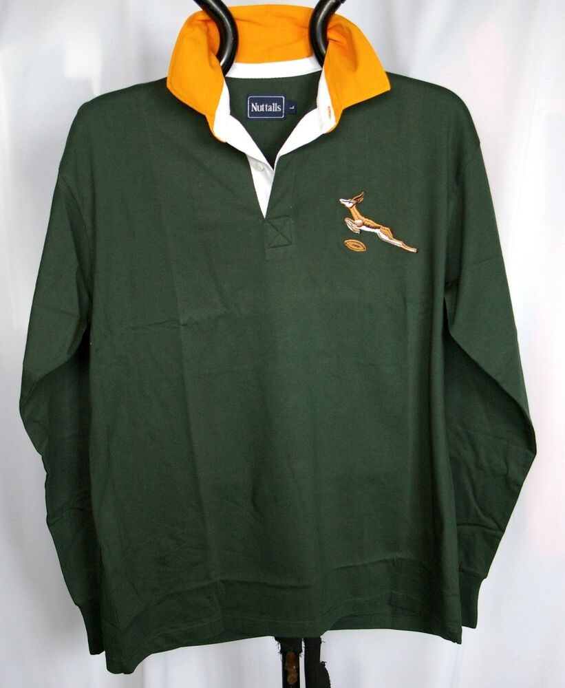Vintage Valiant Rugby Shirt In Ultramarine Gold: SOUTH AFRICAN RETRO CLASSIC COMBED COTTON SPRINGBOK RUGBY