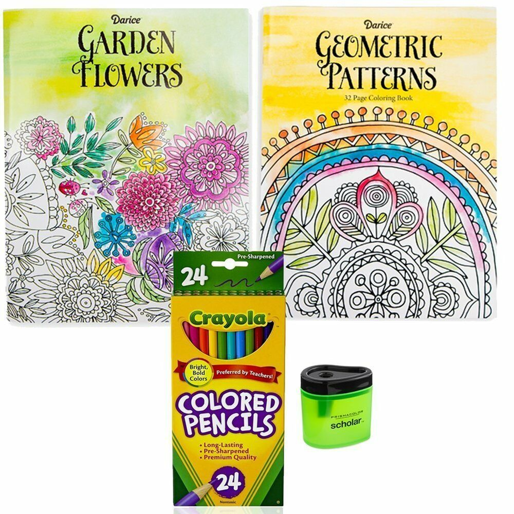 2 Coloring Books For Adults Crayola Colored Pencils 24