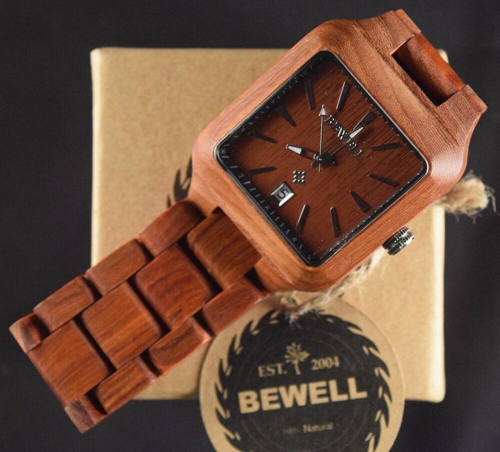 mens wooden square sandalwood casual