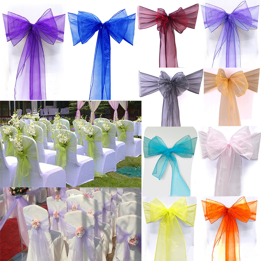 10 50 100 pcs organza chair cover sash bow wedding party for Wedding reception accessories
