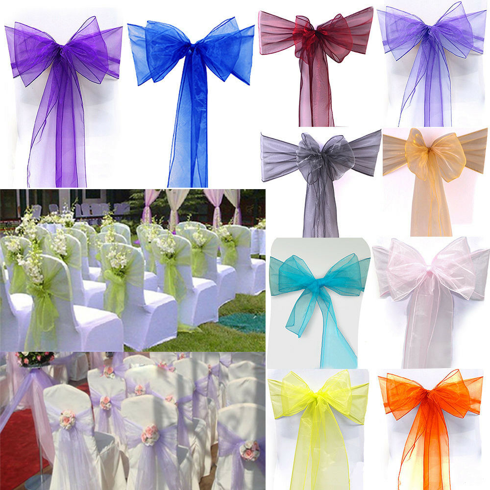 10 50 100 pcs organza chair cover sash bow wedding party - Bow decorations for weddings ...