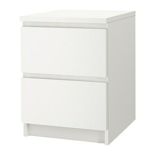 ikea malm chest of 2 drawers white 40x55 cm ebay. Black Bedroom Furniture Sets. Home Design Ideas
