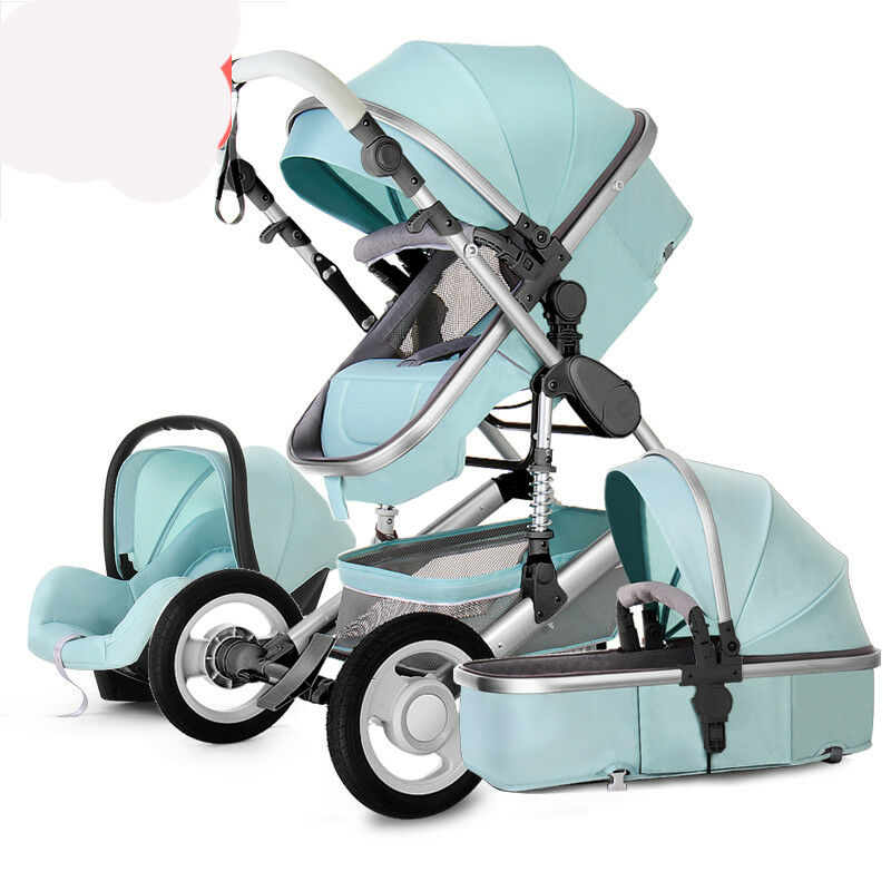 luxury baby stroller 3 in 1 high view pram foldable pushchair bassinet car seat ebay. Black Bedroom Furniture Sets. Home Design Ideas