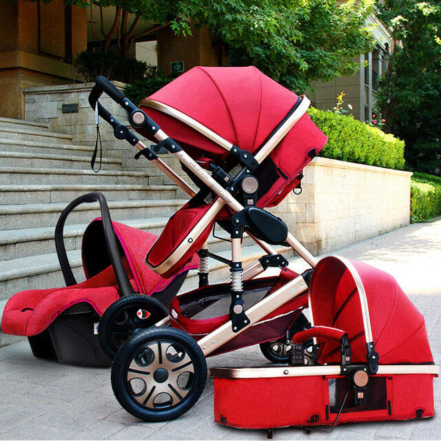portable baby stroller 3 in 1 high view foldable pushchair bassinet car seat ebay. Black Bedroom Furniture Sets. Home Design Ideas