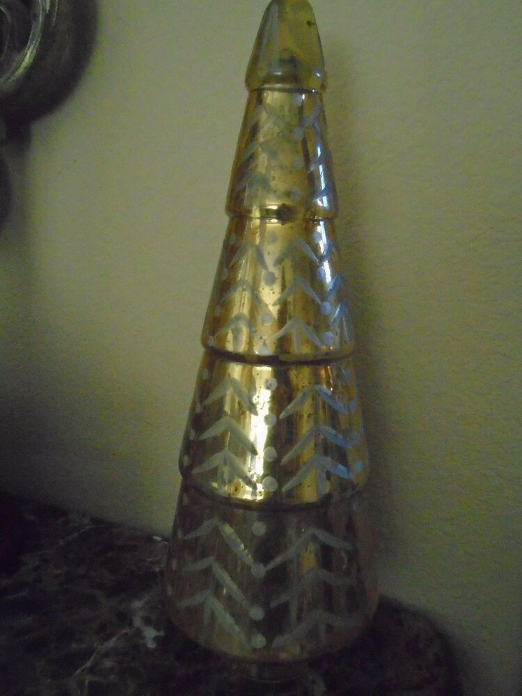 New pottery barn gold etched mercury glass quot christmas