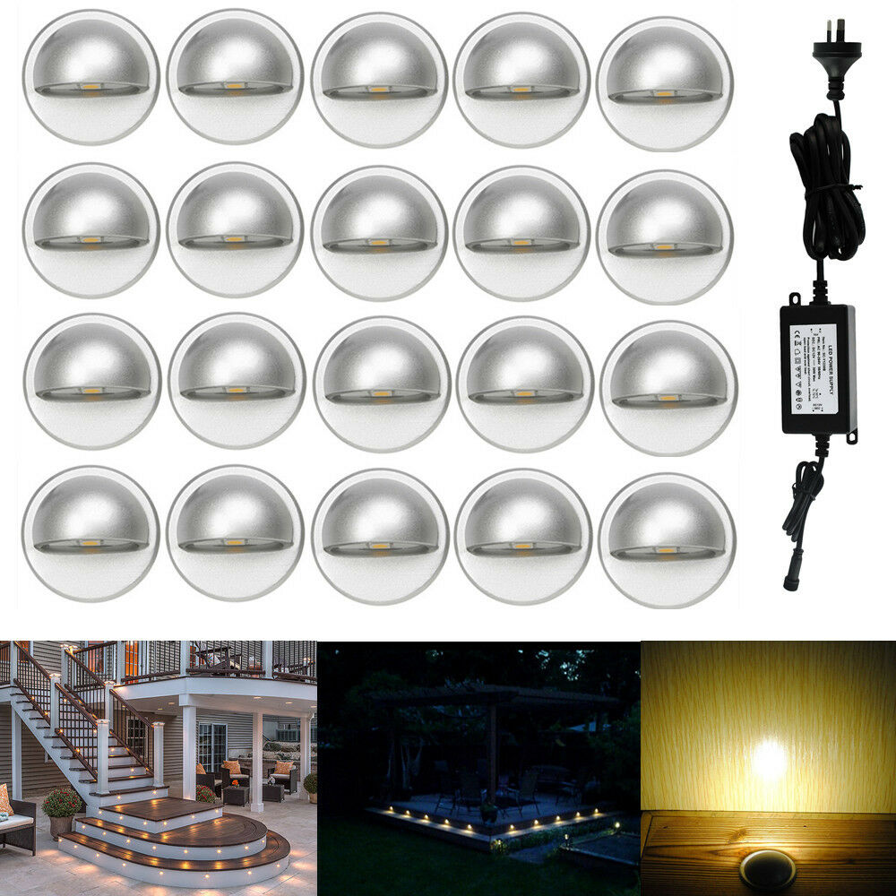 Step Lights Outdoor Low Voltage: 20Pcs Warm White Low Voltage Half Moon Outdoor Yard LED