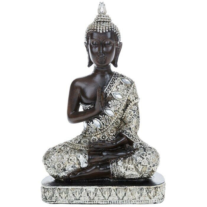 Silver thai sitting buddha ornament oriental decor new for Buddha decorations for the home uk