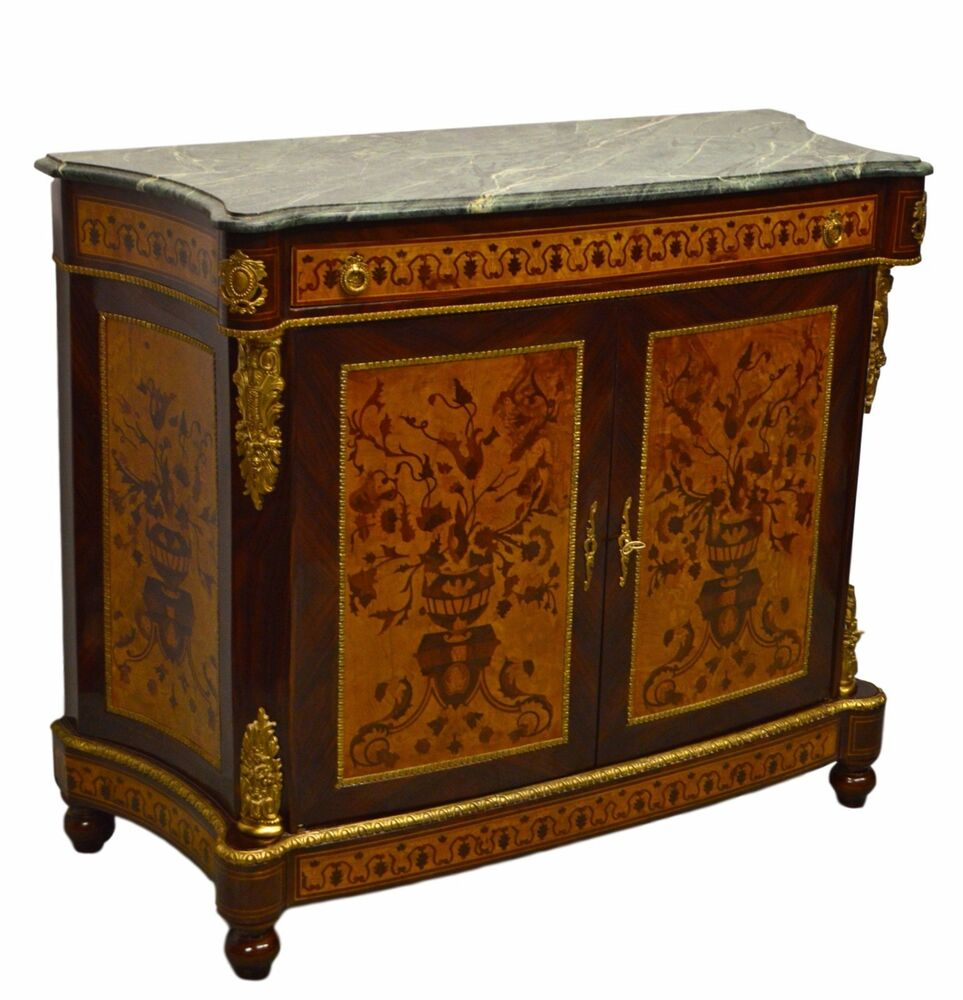 Marble Top Buffet ~ French style inlaid sideboard w marble top server buffet