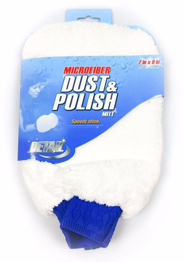 7 x9 white microfiber dust and polish mitt car detailing speedy shine wet dry ebay. Black Bedroom Furniture Sets. Home Design Ideas