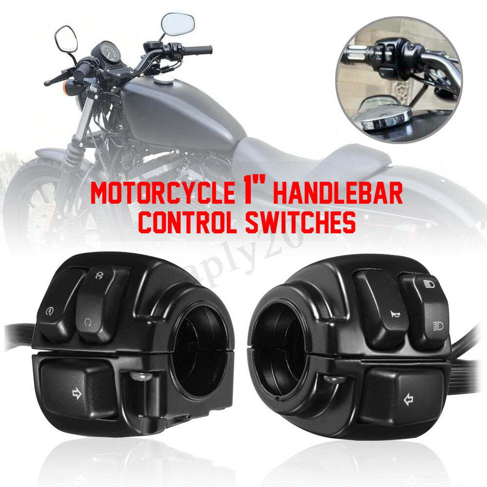 2 Black Motorcycle 1 U0026 39  U0026 39  Handlebar Control Switches  U0026 Wiring