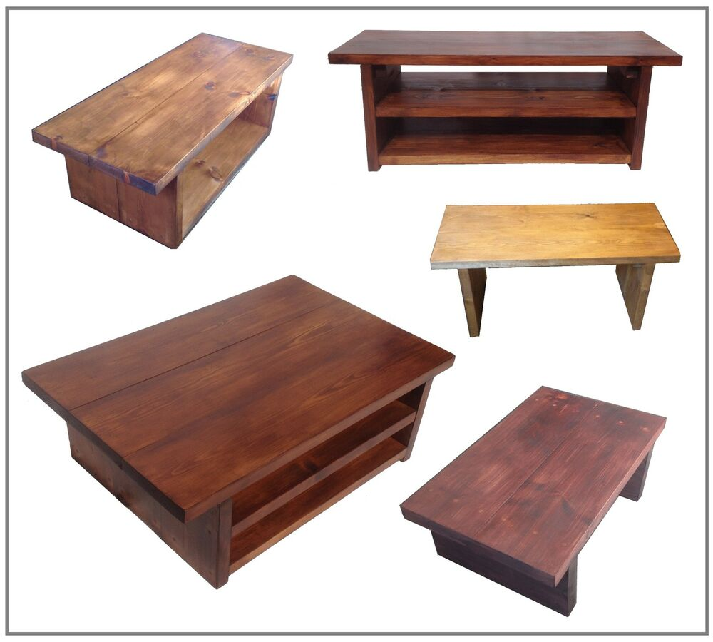 RUSTIC WOODEN COFFEE TABLE TV STAND LIVING ROOM CHUNKY AND