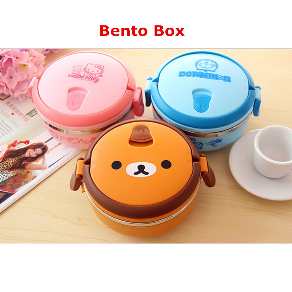 1 cute cartoon thermal insulation lunch box food container storage bento box ebay. Black Bedroom Furniture Sets. Home Design Ideas