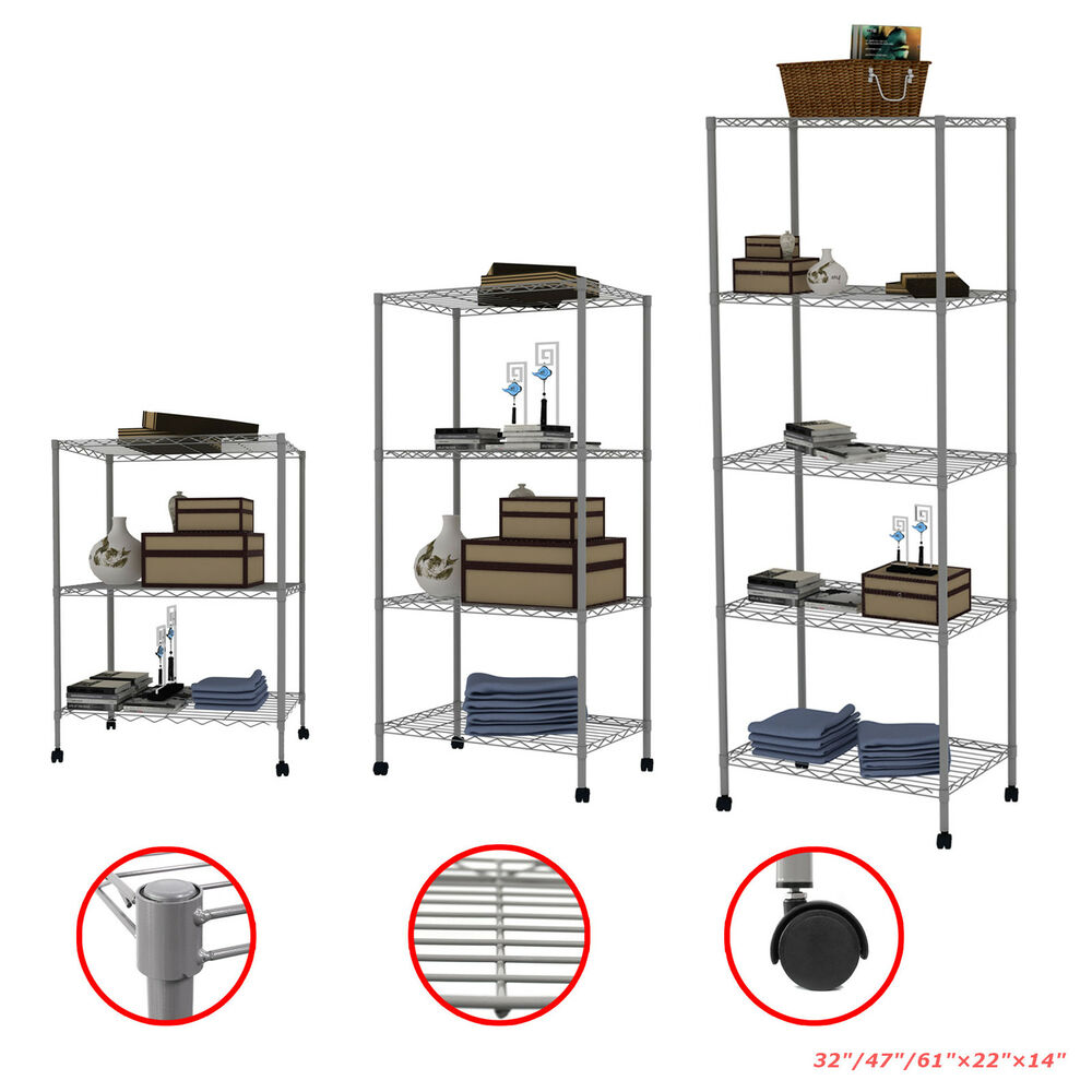 metal shelf rack 3 4 5 tier layer shelves steel wire metal rack movable 23277