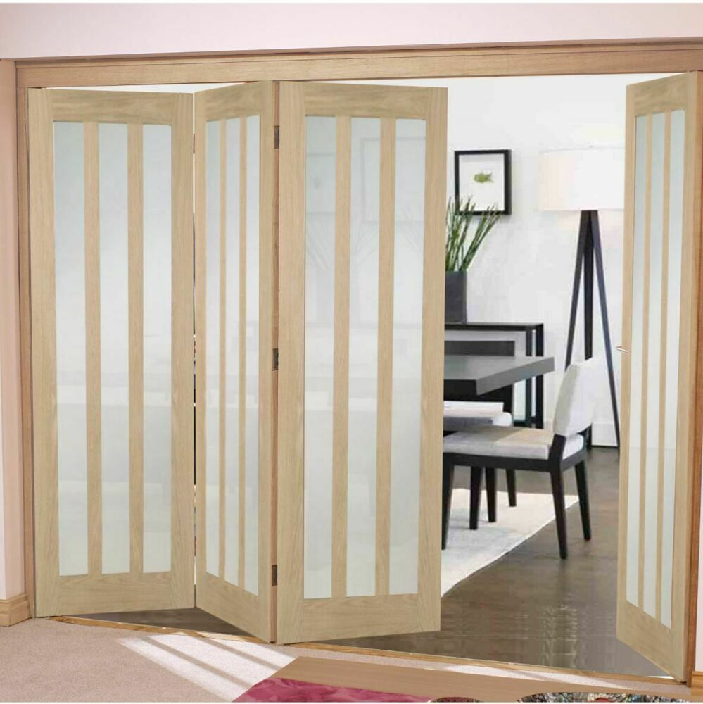 Aston frosted bifold doors oak aston frosted glass for Internal folding doors