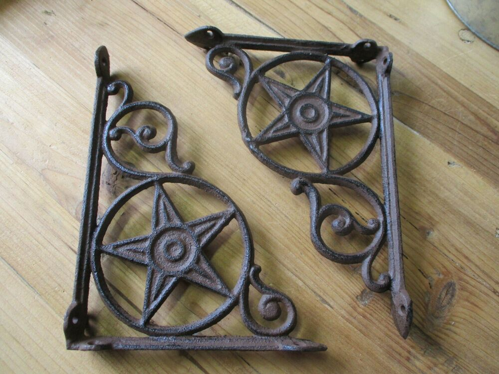 8 Cast Iron Antique Star Brackets Garden Braces Shelf