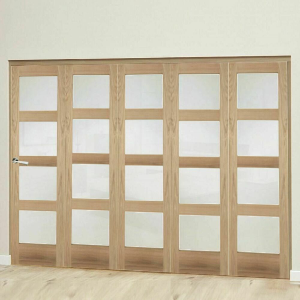 Shaker 4 light frosted bifold doors oak frosted internal for Internal folding doors systems