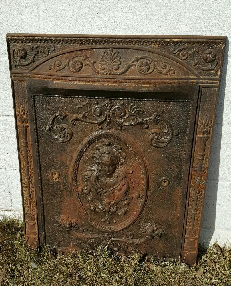 Hearth Covers: Antique Victorian Cast Iron Fireplace Surround W/ Summer