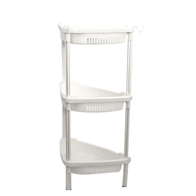 Three Tier Bathroom Stand: 3-Tier Bathroom Oraganizer Storage Stand White Plastic