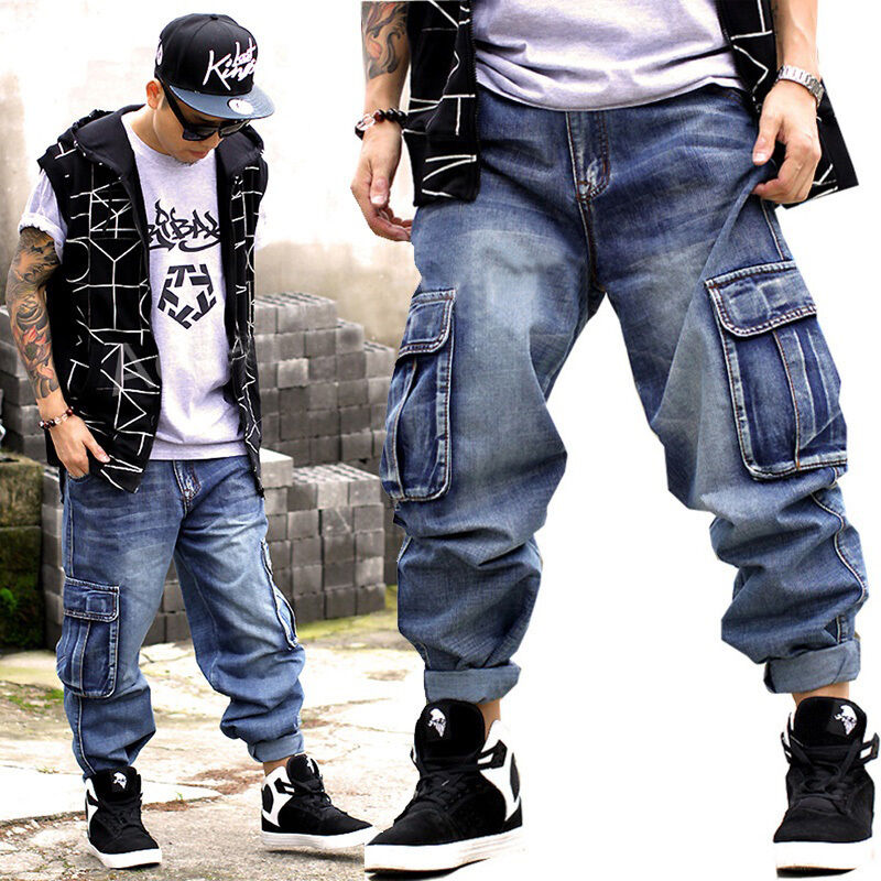 HOT Fat Men's Loose Denim Overalls Hip Hop Board Trousers ...
