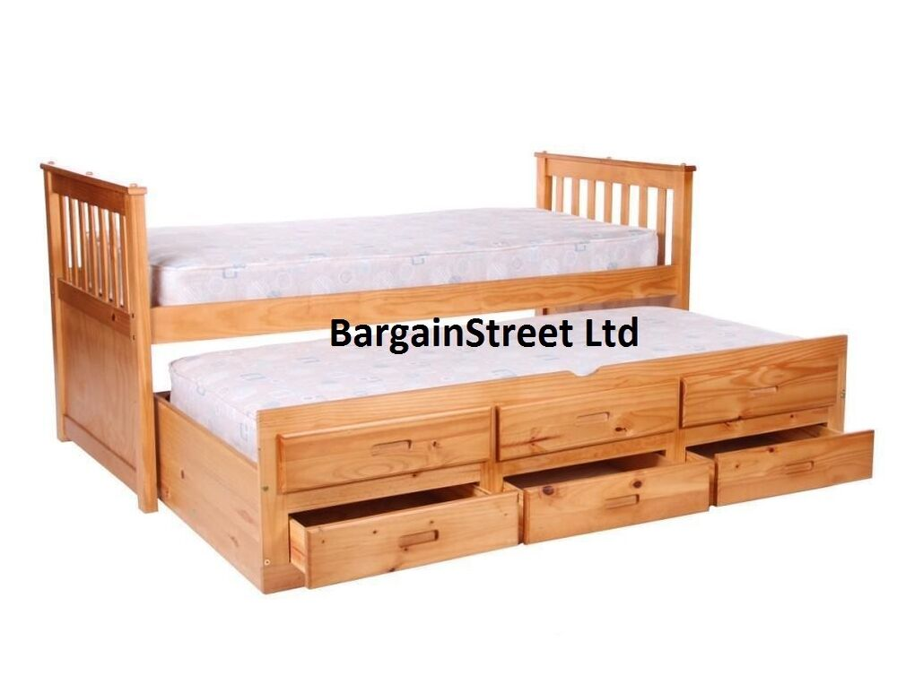 3ft Single Pine Sleepover Bed With Pull Out Guest Bed And Storage Drawers Ebay