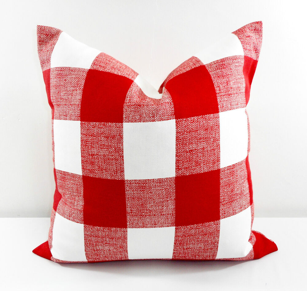 Red Pillow Cover Checkered Red And White Christmas Decor Cotton