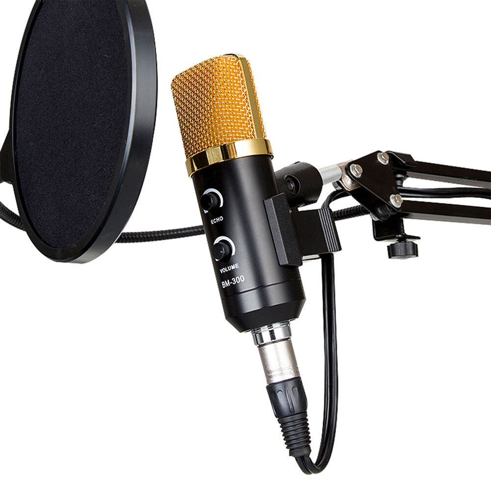 professional usb podcast condenser microphone pc recording mic with stand tripod ebay. Black Bedroom Furniture Sets. Home Design Ideas