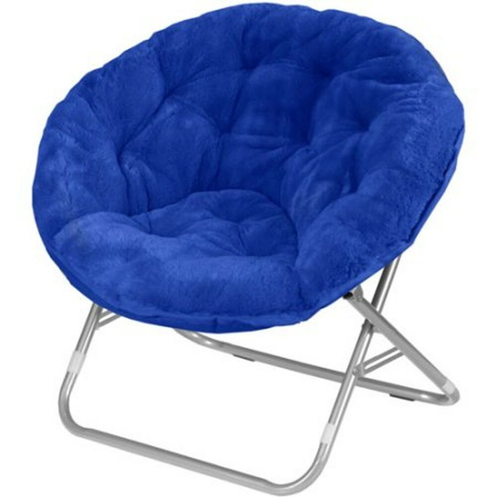 Folding Saucer Mainstays Chair Soft Faux Fabric Furniture