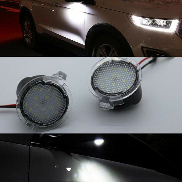 2 White Led Side Mirror Puddle Light For Ford Edge Mondeo