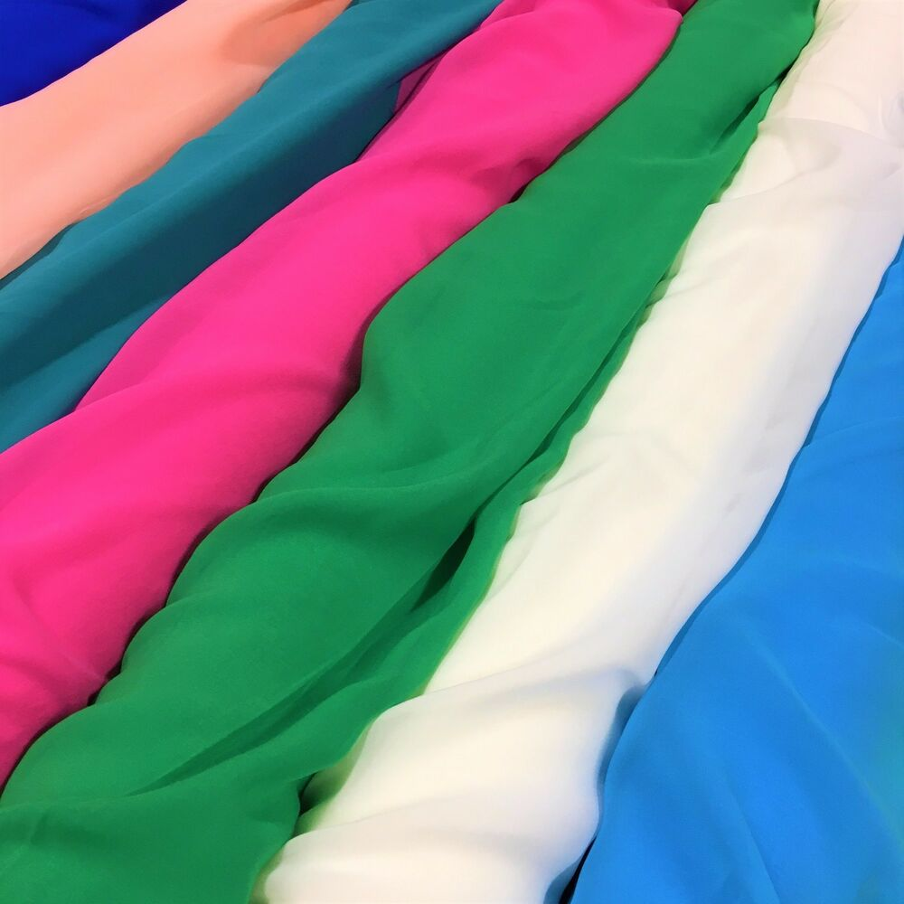 Silk Georgette Chiffon Fabric Solid 100 Silk 10mm 44 Quot Wide Sold Bty Many Colors Ebay
