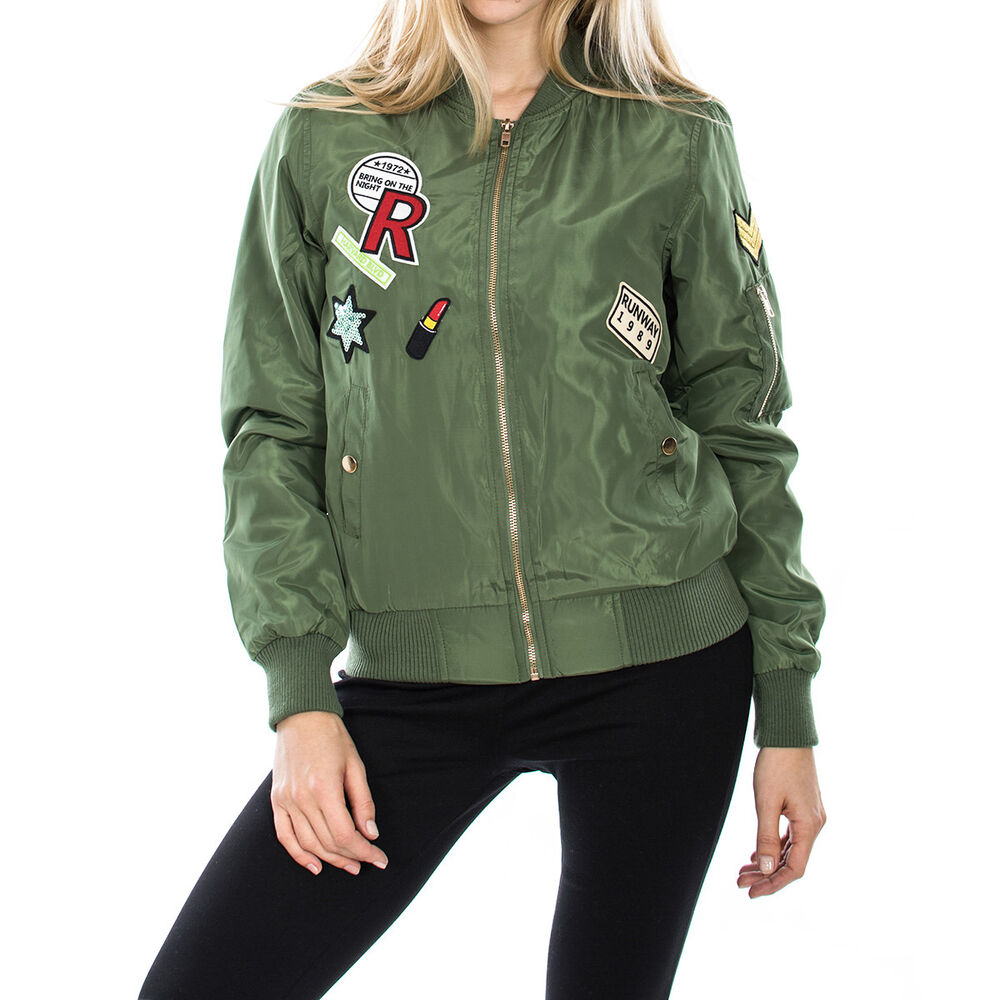 Womenu0026#39;s Bomber Jacket With Embroidery Patches In Olive | EBay