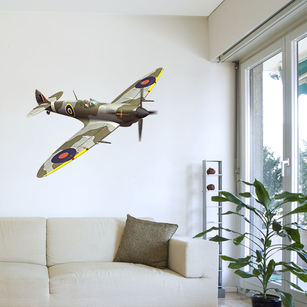 Army spitfire plane bedroom lounge boys room wall sticker for Airplane cockpit wall mural