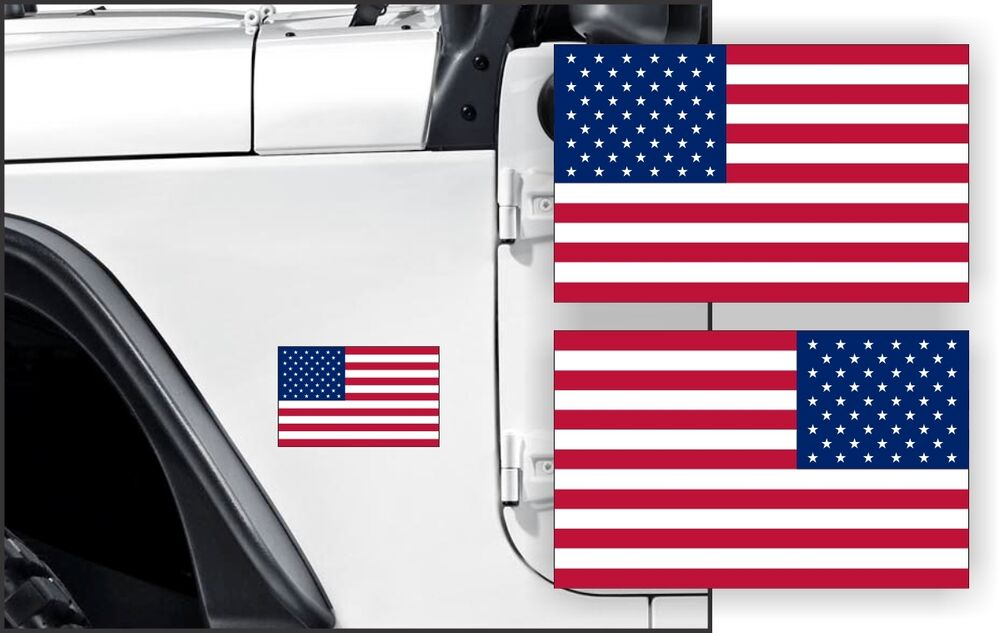 Jeep Rubicon Accessories >> AMERICAN FLAG Fender Stickers Jeep Wrangler Rubicon Cherokee | USA Decals USA | eBay