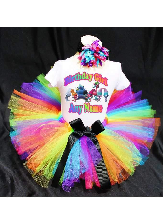 Rainbow Trolls Birthday Tutu Outfit Birthday Dress Up