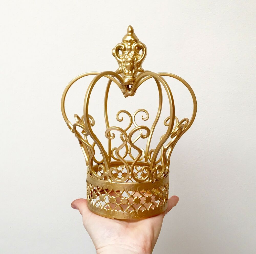 Silver or gold color metal crown cake topper flower