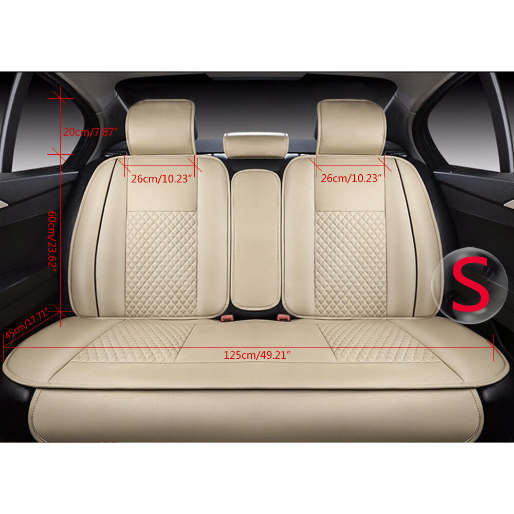 s 5 seats auto car seat cover cushion pu leather front rear w pillow 7pc beige ebay. Black Bedroom Furniture Sets. Home Design Ideas