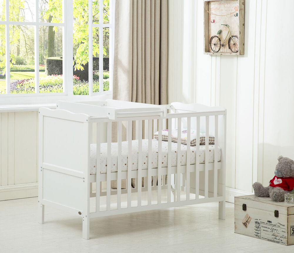 mcc wooden baby cot bed toddler bed with top changer and foam mattress ebay. Black Bedroom Furniture Sets. Home Design Ideas
