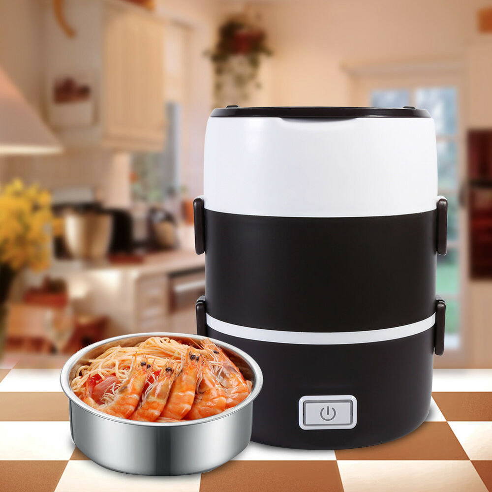 portable 220v 3 tier electric heating lunch box set food warmer container bento ebay. Black Bedroom Furniture Sets. Home Design Ideas